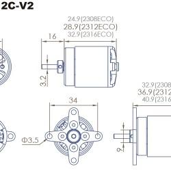 3x Dualsky ECO 2312C V2 Motor with many KVs to choose