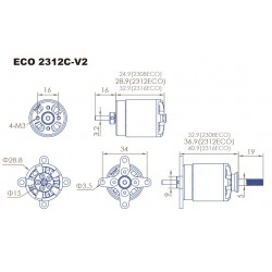 3x Dualsky ECO 2312C V2 Motor with many KVs to choose