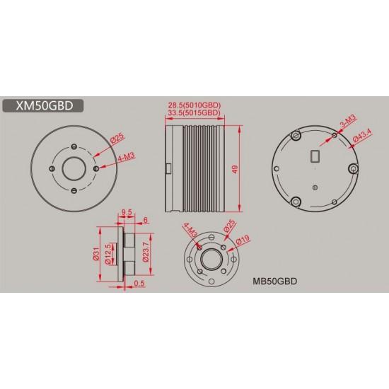 Dualsky XM5010GBD Brushless Servo Motor 12-bitencoder AS5600